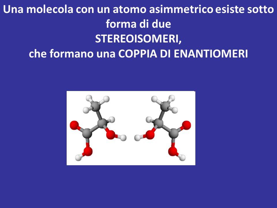 Una molecola con un atomo asimmetrico esiste sotto forma di due
