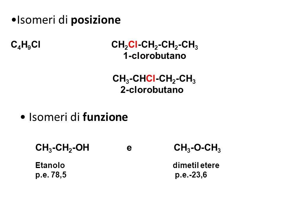 Isomeri di posizione • Isomeri di funzione C4H9Cl CH2Cl-CH2-CH2-CH3
