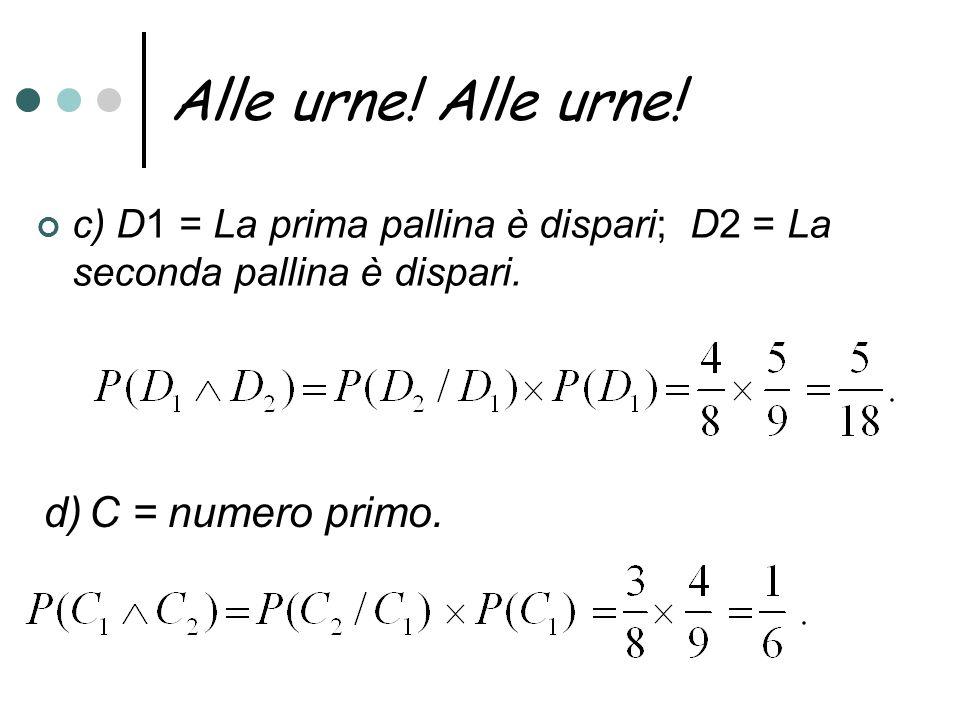 Alle urne! Alle urne! d) C = numero primo.