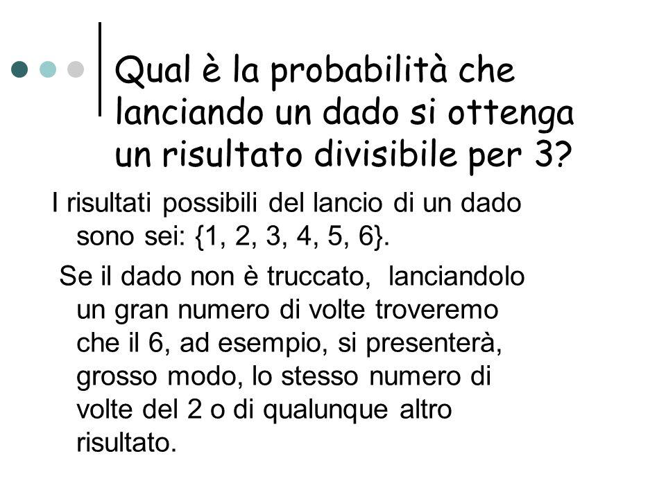 Qual è la probabilità che lanciando un dado si ottenga un risultato divisibile per 3