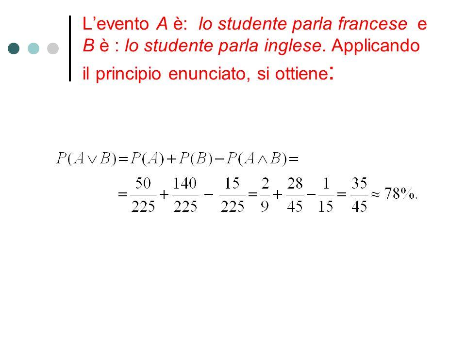 L'evento A è: lo studente parla francese e B è : lo studente parla inglese.