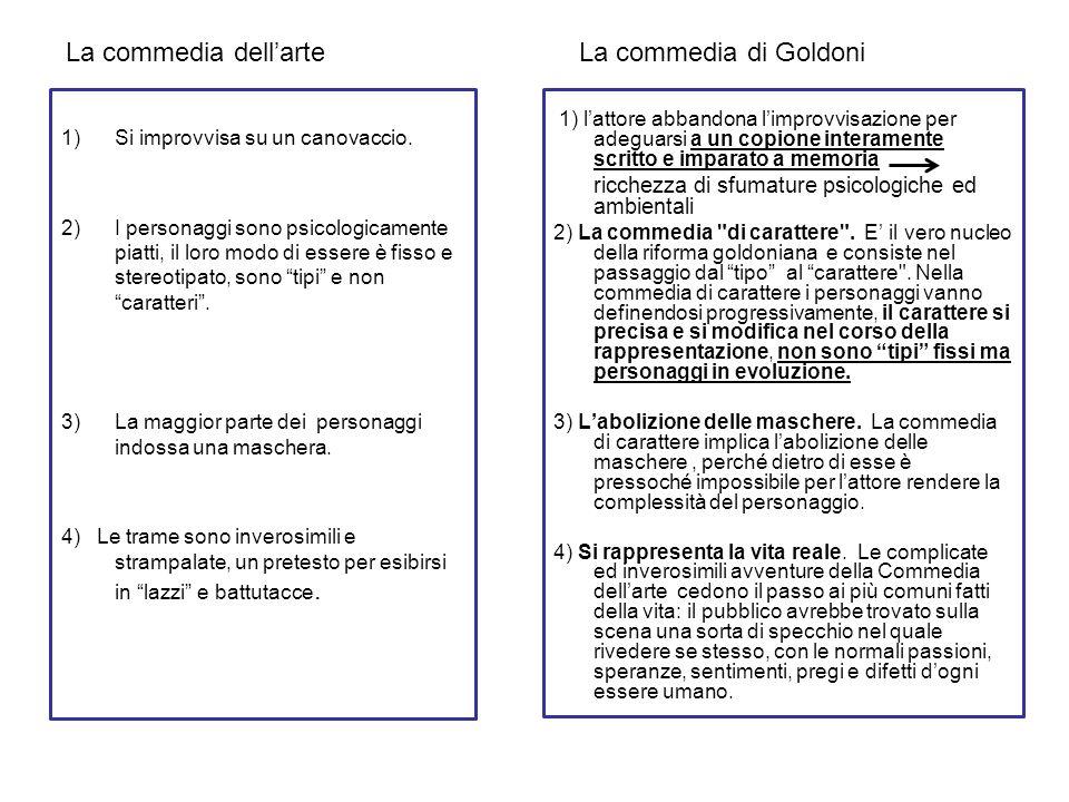 La commedia dell'arte La commedia di Goldoni