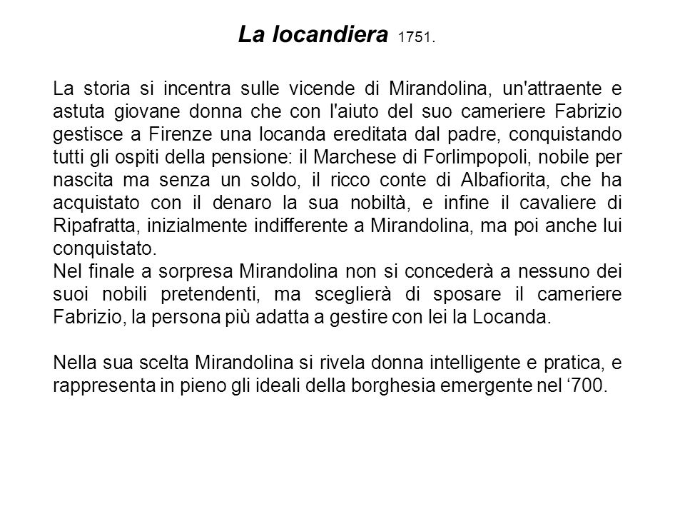 La locandiera 1751.