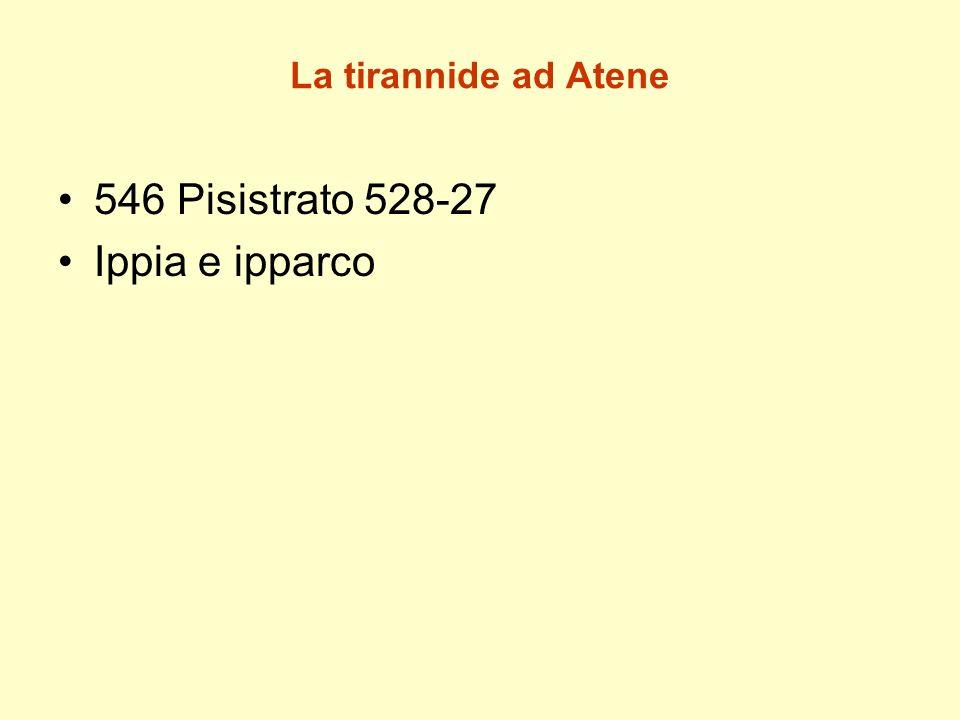 La tirannide ad Atene 546 Pisistrato 528-27 Ippia e ipparco