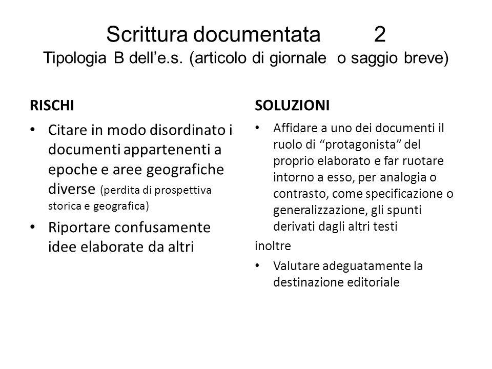 Scrittura documentata 2 Tipologia B dell'e. s