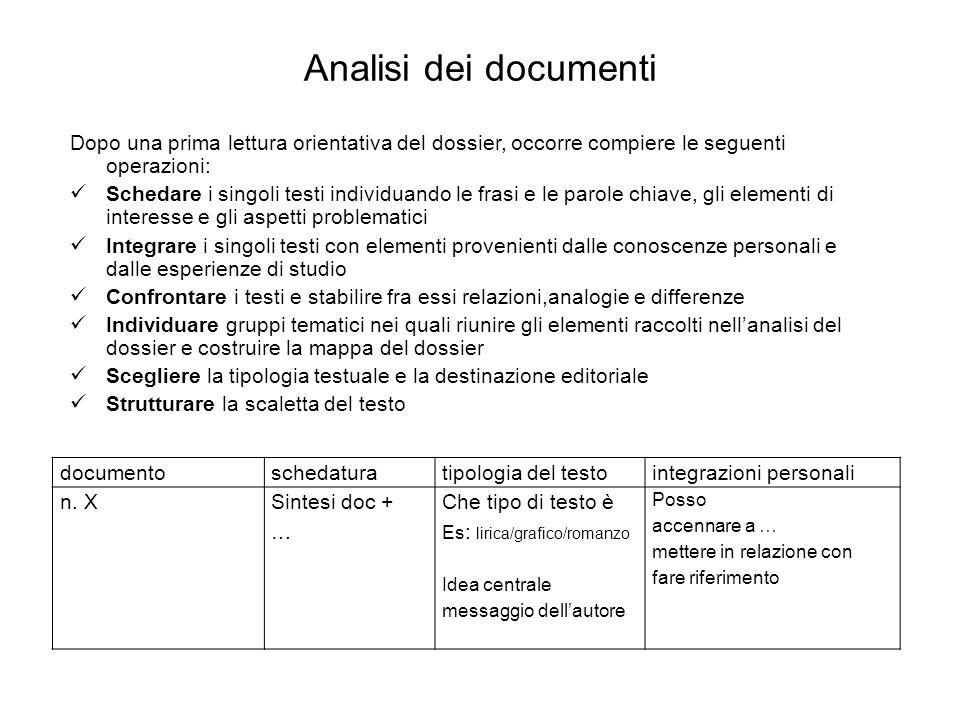 Analisi dei documenti Dopo una prima lettura orientativa del dossier, occorre compiere le seguenti operazioni: