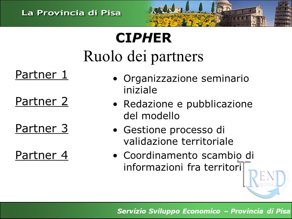 CIPHER Ruolo dei partners