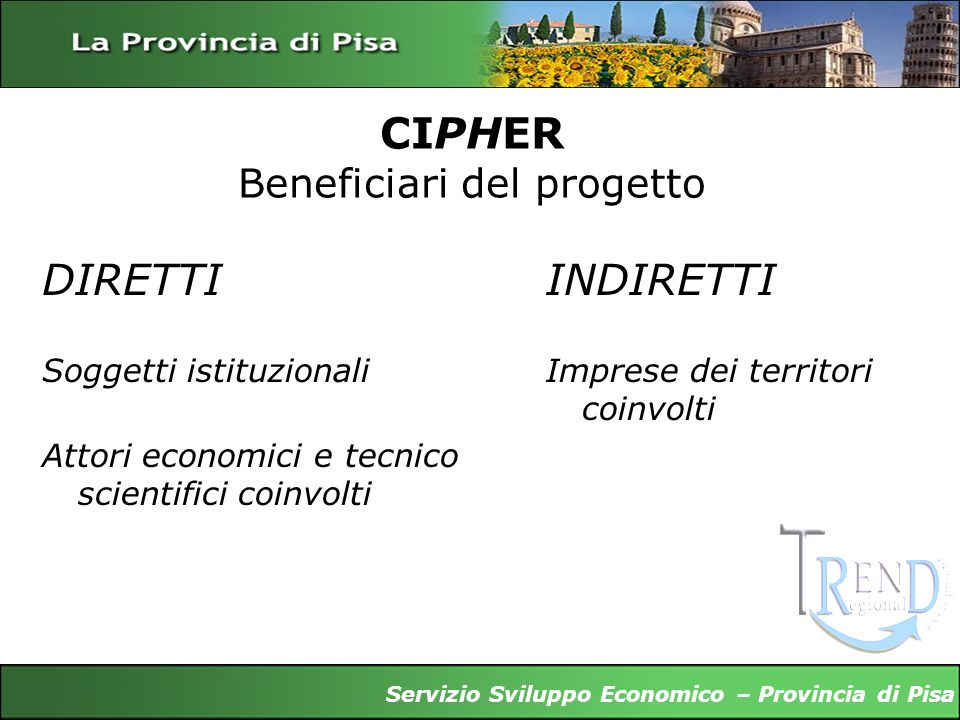 CIPHER Beneficiari del progetto