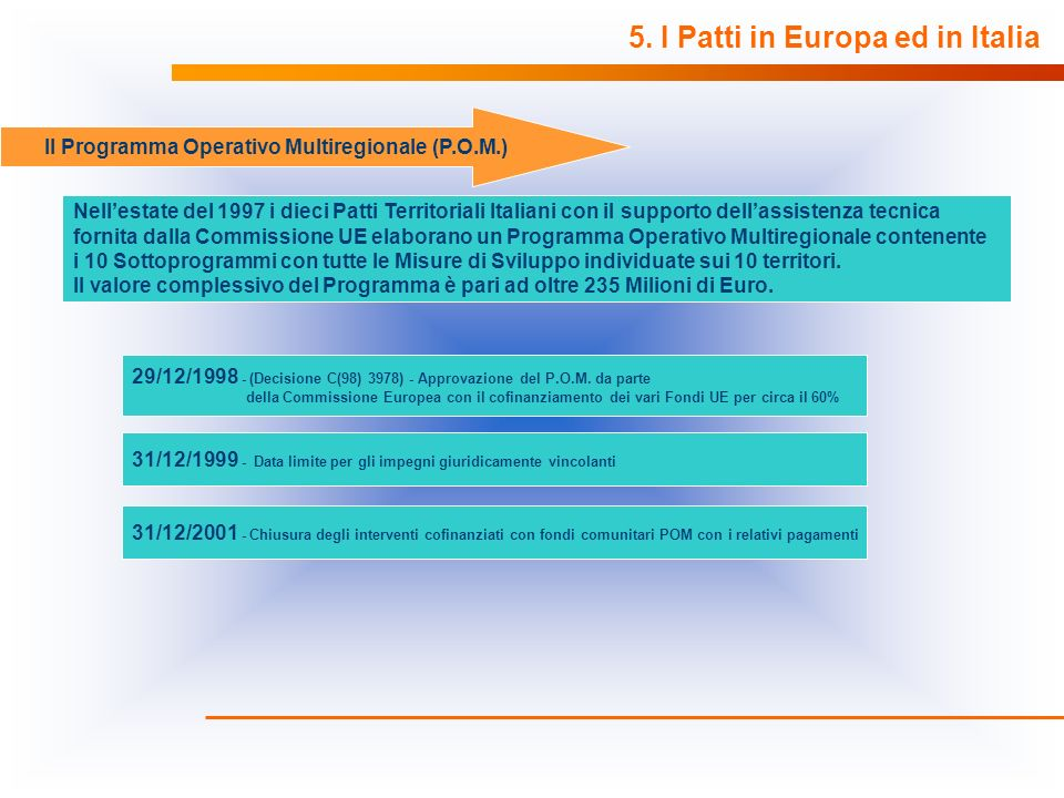 Il Programma Operativo Multiregionale (P.O.M.)