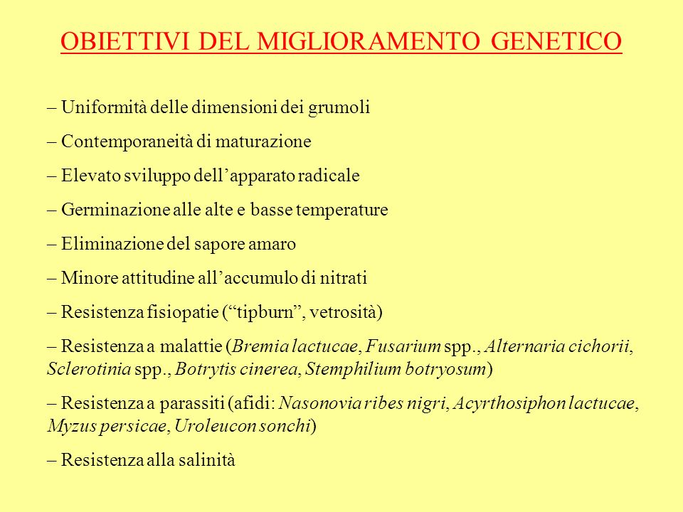 OBIETTIVI DEL MIGLIORAMENTO GENETICO