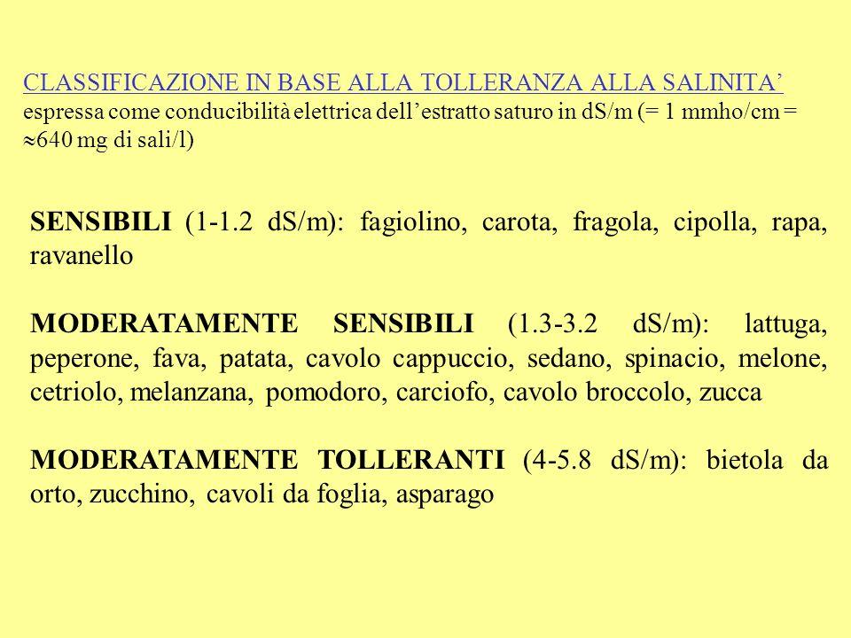 CLASSIFICAZIONE IN BASE ALLA TOLLERANZA ALLA SALINITA' espressa come conducibilità elettrica dell'estratto saturo in dS/m (= 1 mmho/cm = 640 mg di sali/l)