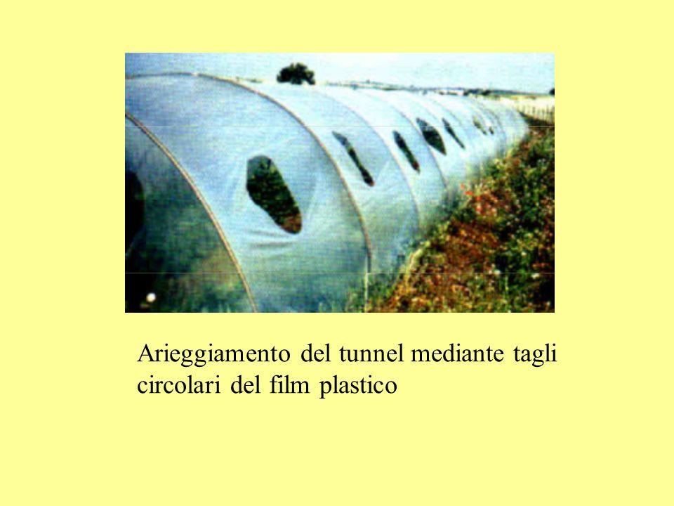 Arieggiamento del tunnel mediante tagli circolari del film plastico