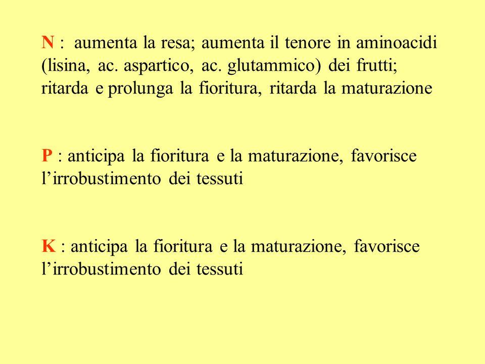 N : aumenta la resa; aumenta il tenore in aminoacidi (lisina, ac