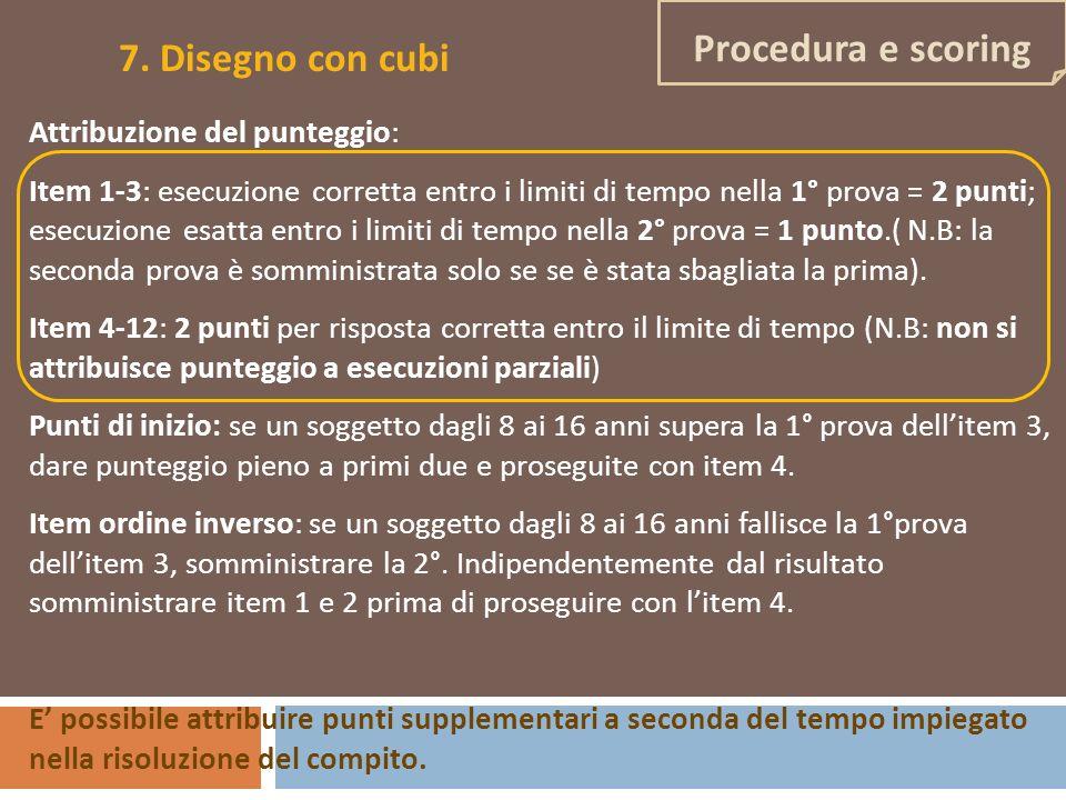 7. Disegno con cubi Procedura e scoring