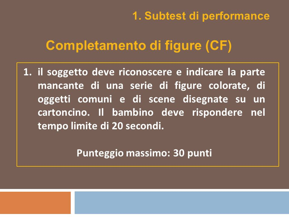1. Subtest di performance