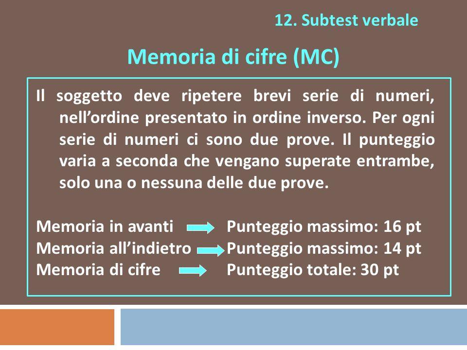 Memoria di cifre (MC) 12. Subtest verbale