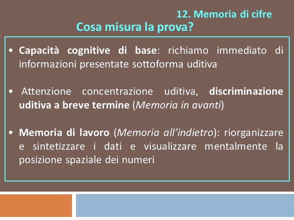 Cosa misura la prova 12. Memoria di cifre