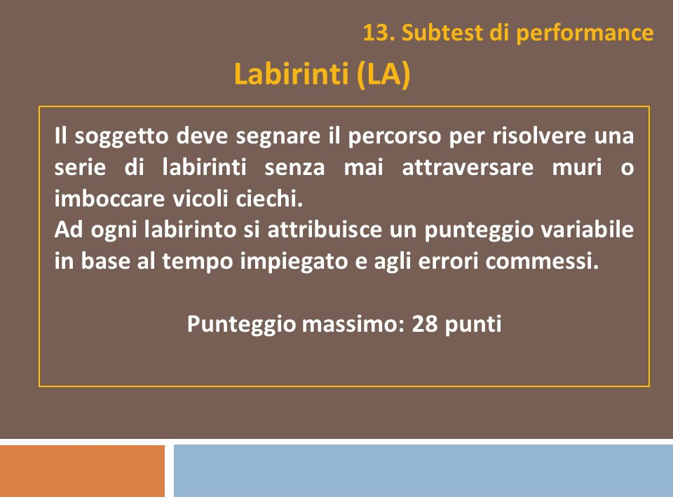 13. Subtest di performance