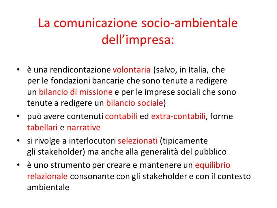 La comunicazione socio-ambientale dell'impresa: