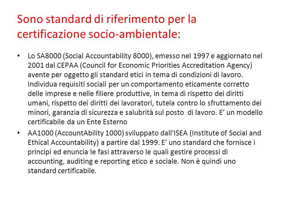 Sono standard di riferimento per la certificazione socio-ambientale: