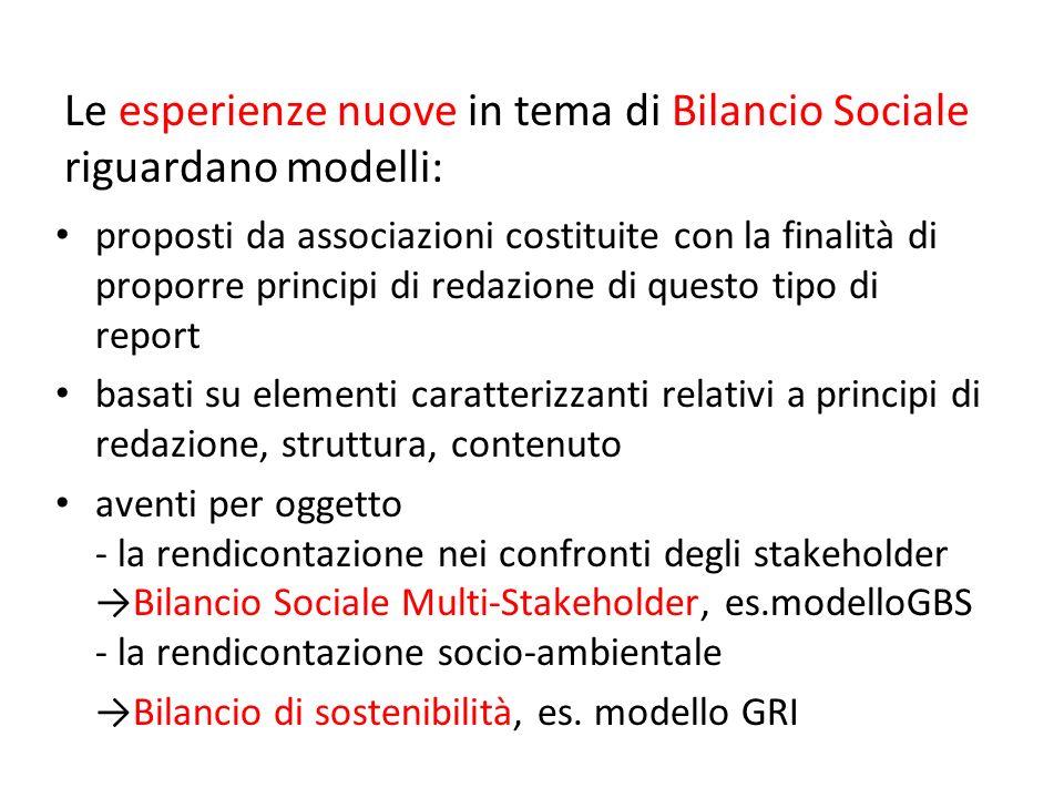 Le esperienze nuove in tema di Bilancio Sociale riguardano modelli:
