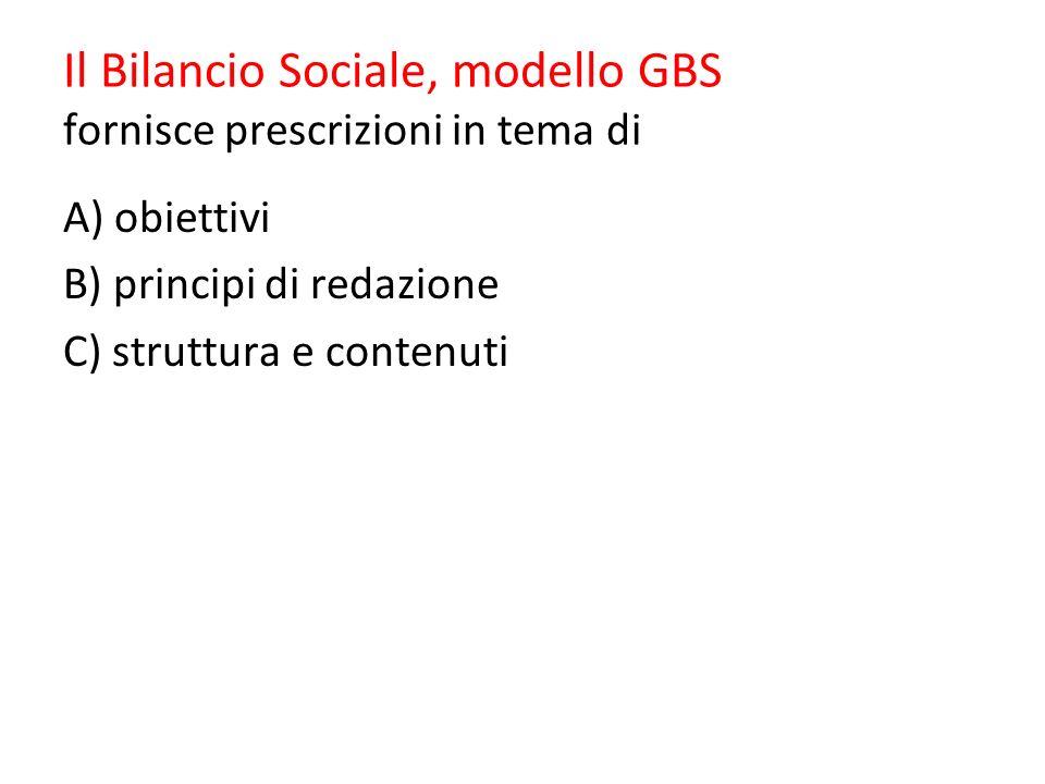 Il Bilancio Sociale, modello GBS fornisce prescrizioni in tema di
