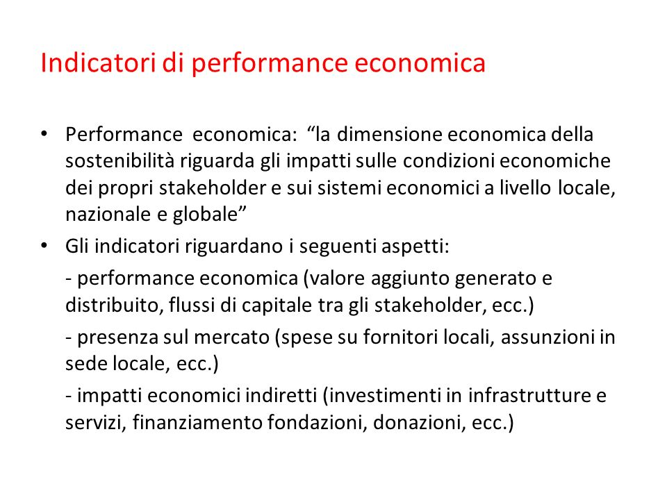 Indicatori di performance economica