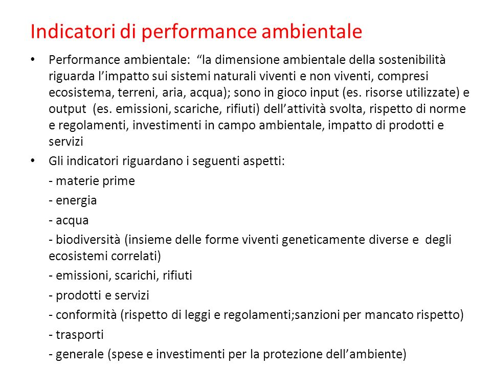 Indicatori di performance ambientale