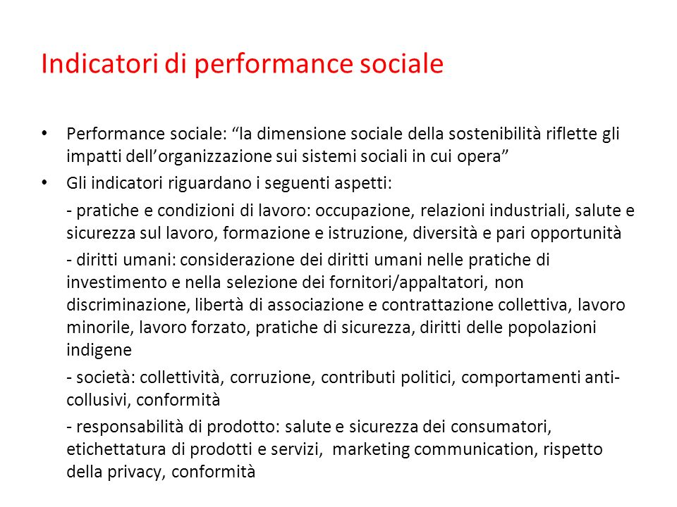 Indicatori di performance sociale