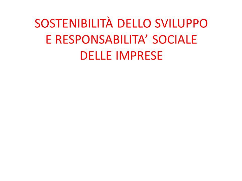 SOSTENIBILITÀ DELLO SVILUPPO E RESPONSABILITA' SOCIALE DELLE IMPRESE