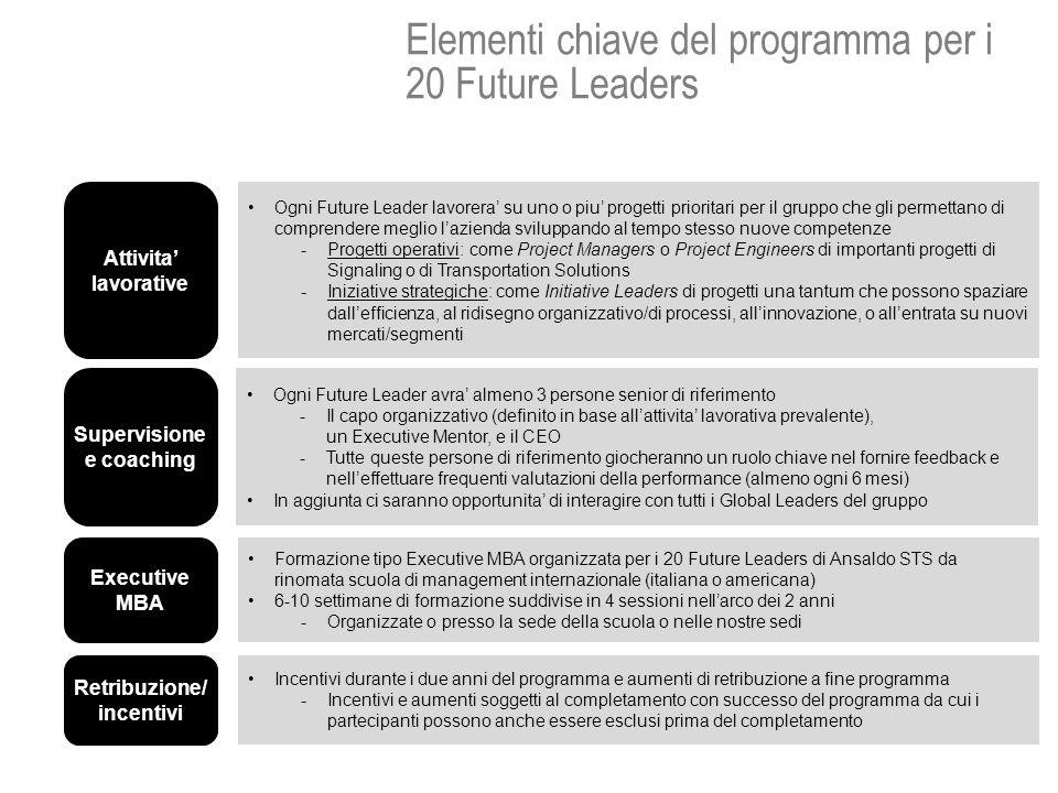 Elementi chiave del programma per i 20 Future Leaders