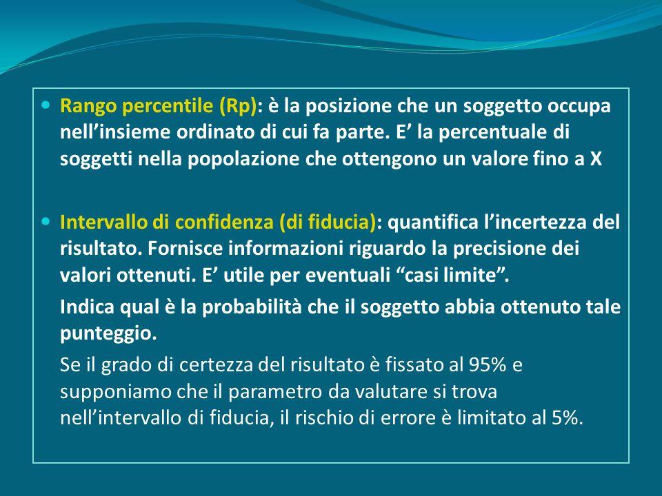 Rango percentile (Rp): è la posizione che un soggetto occupa nell'insieme ordinato di cui fa parte. E' la percentuale di soggetti nella popolazione che ottengono un valore fino a X