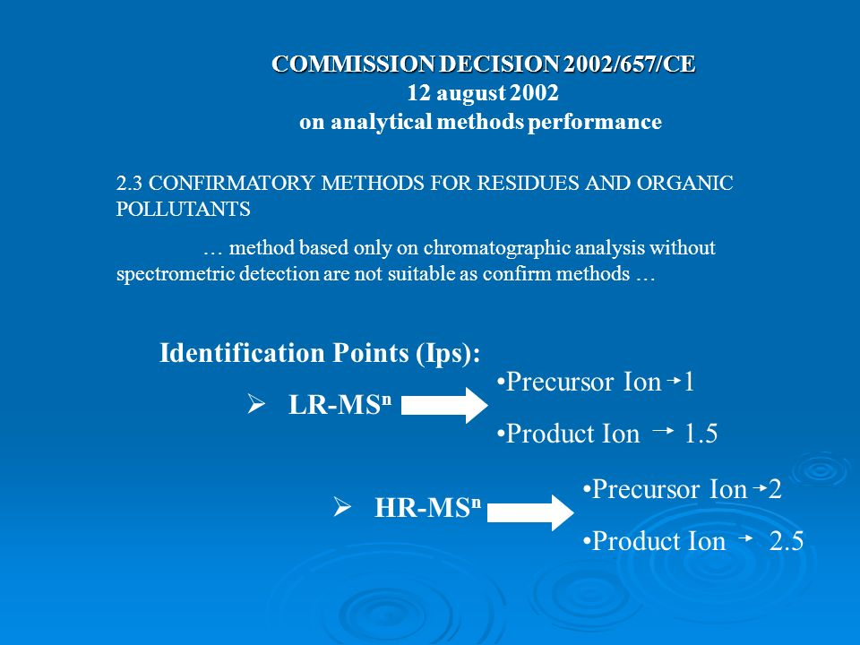 COMMISSION DECISION 2002/657/CE on analytical methods performance