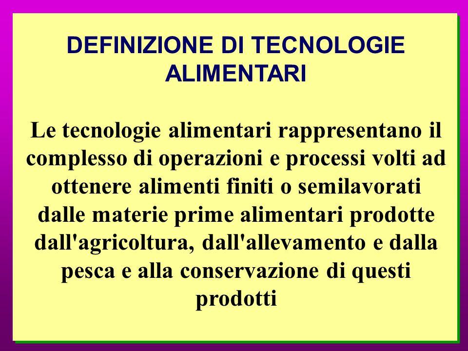 DEFINIZIONE DI TECNOLOGIE ALIMENTARI