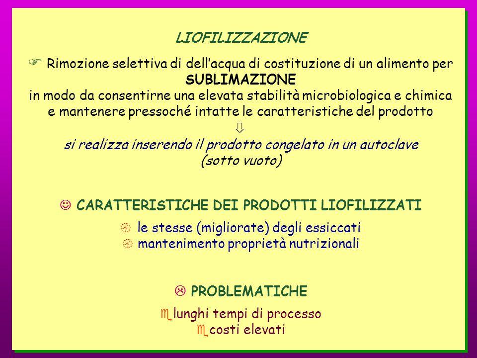  CARATTERISTICHE DEI PRODOTTI LIOFILIZZATI