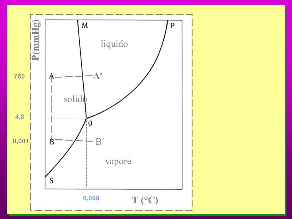 P(mmHg) liquido A' 760 solido 4,8 0,001 B' vapore 0,098 T (°C)
