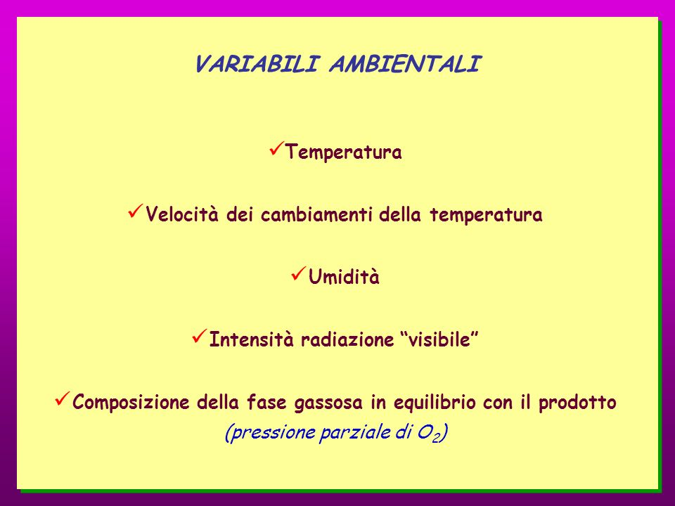 VARIABILI AMBIENTALI Temperatura