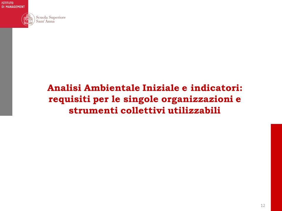 Analisi Ambientale Iniziale e indicatori: requisiti per le singole organizzazioni e strumenti collettivi utilizzabili