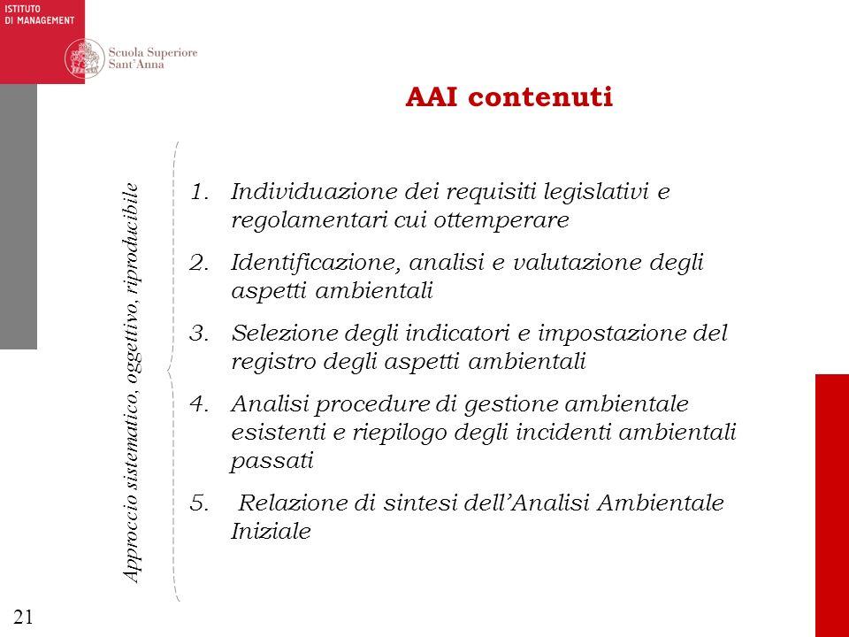 AAI contenuti Individuazione dei requisiti legislativi e regolamentari cui ottemperare.