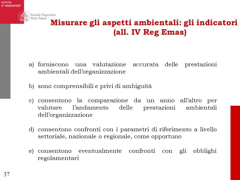 Misurare gli aspetti ambientali: gli indicatori (all. IV Reg Emas)