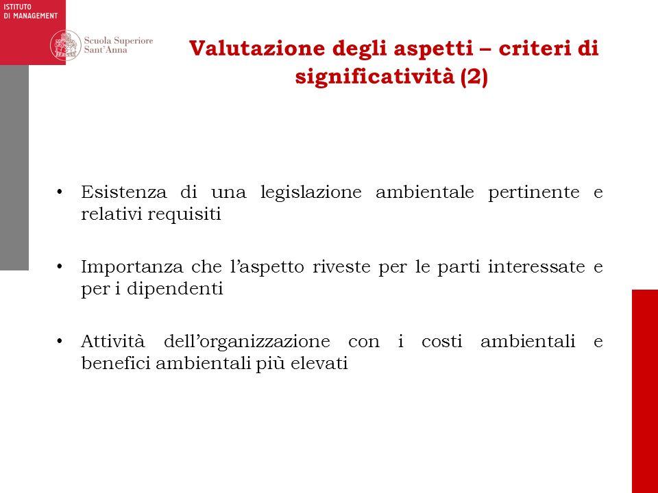 Valutazione degli aspetti – criteri di significatività (2)