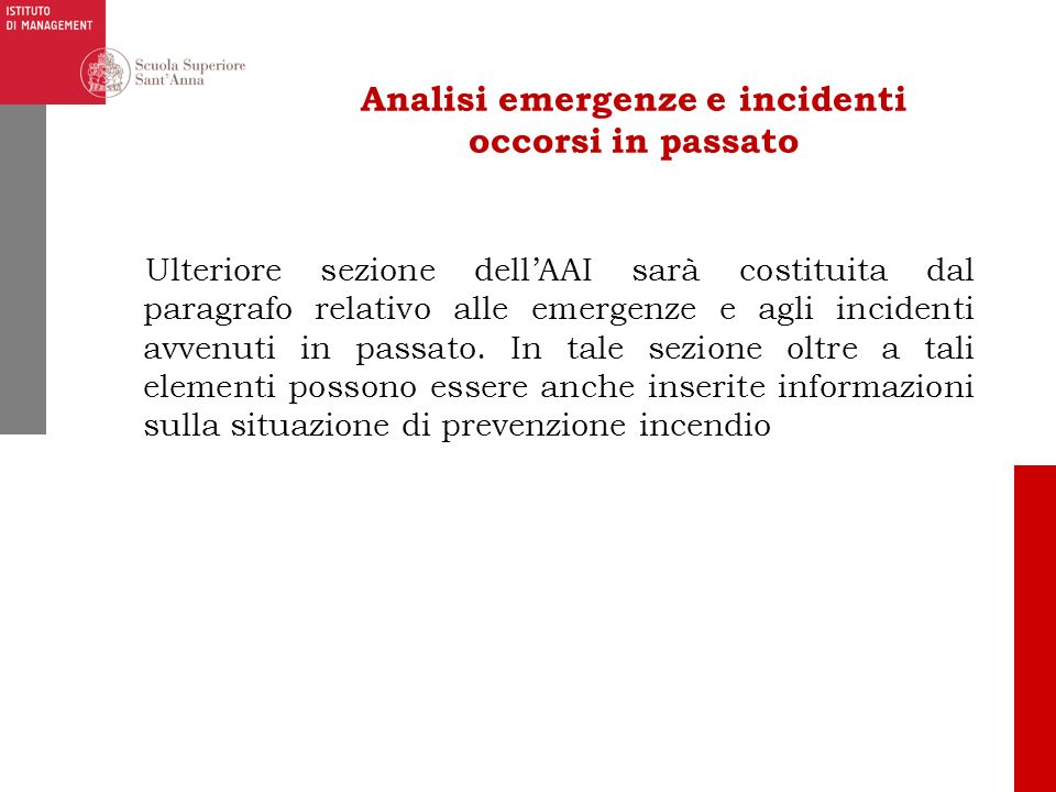Analisi emergenze e incidenti