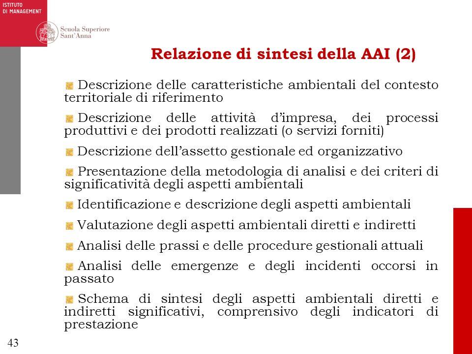 Relazione di sintesi della AAI (2)