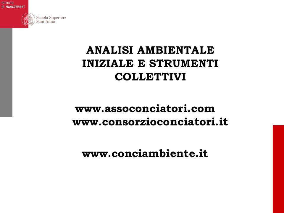 ANALISI AMBIENTALE INIZIALE E STRUMENTI COLLETTIVI www. assoconciatori