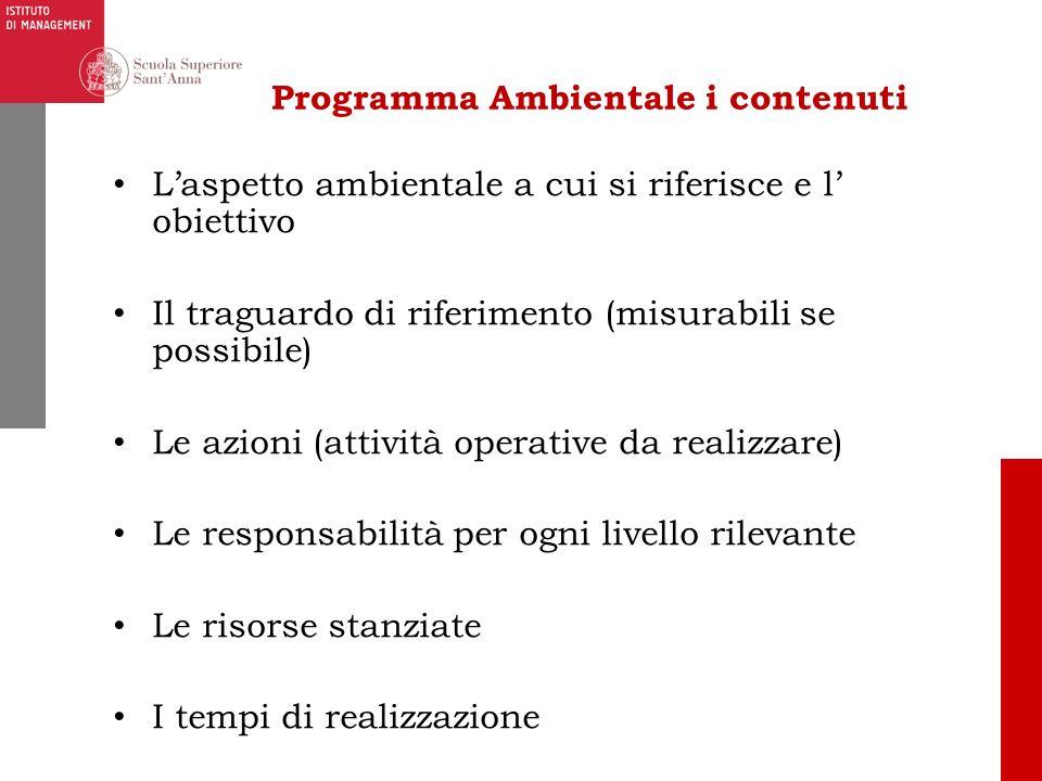 Programma Ambientale i contenuti