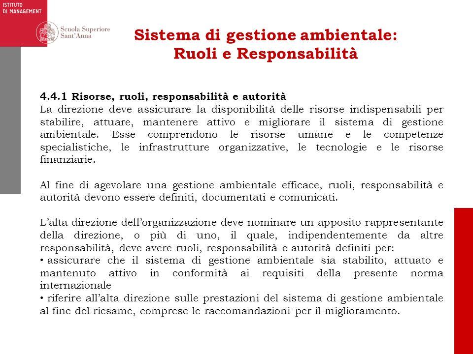 Sistema di gestione ambientale: Ruoli e Responsabilità