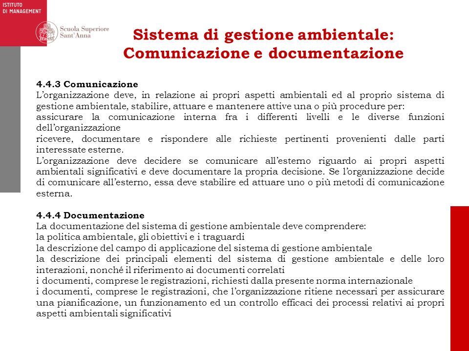 Sistema di gestione ambientale: Comunicazione e documentazione