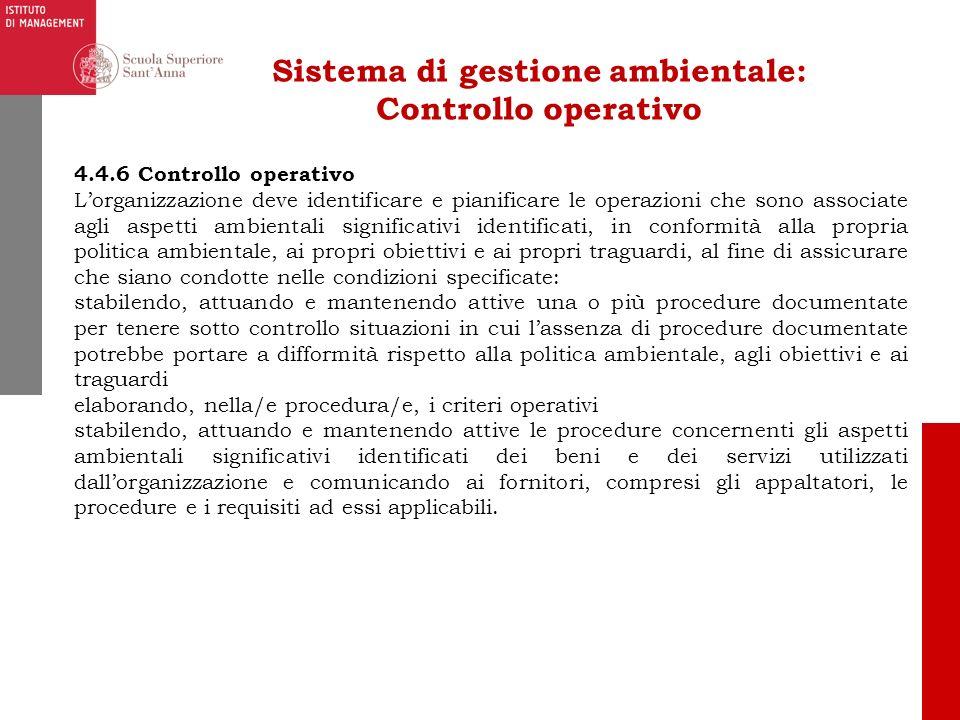 Sistema di gestione ambientale: Controllo operativo