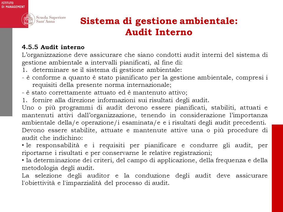 Sistema di gestione ambientale: Audit Interno