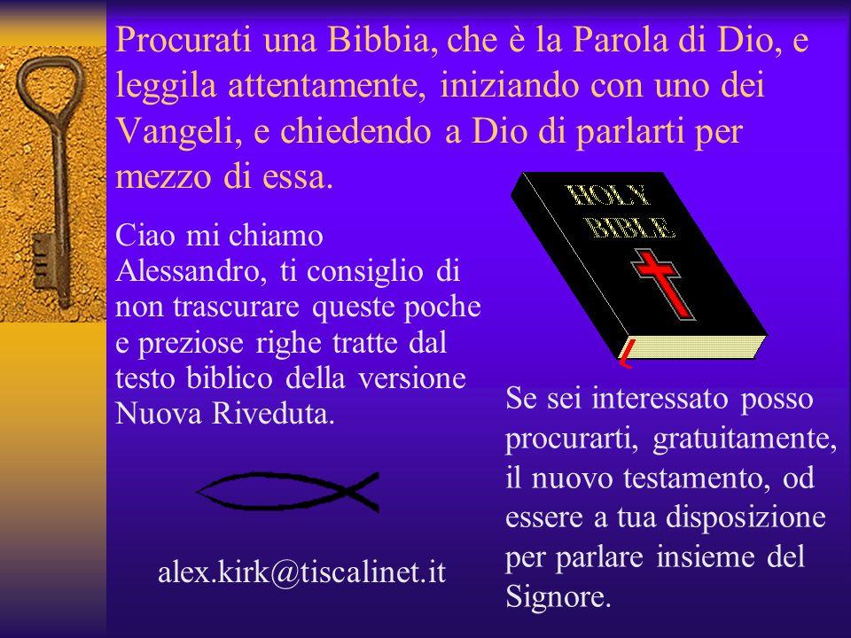 Procurati una Bibbia, che è la Parola di Dio, e leggila attentamente, iniziando con uno dei Vangeli, e chiedendo a Dio di parlarti per mezzo di essa.